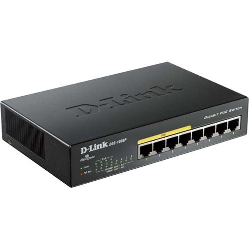 Commutateur Ethernet D-Link DGS-1008P 8 Ports - 8 x Gigabit Ethernet Réseau - Paire torsadée - 2 Couche supportée - Bureau