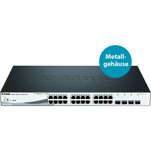 Commutateur Ethernet D-Link WebSmart DGS-1210-28P 24 Ports Gigabit, POE+ (802.3at) - Niveau 2