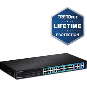 Commutateur Ethernet TRENDnet WebSmart TPE-224WS 28 Ports Gérable - 2 Couche supportée - Paire torsadée, Fibre Optique
