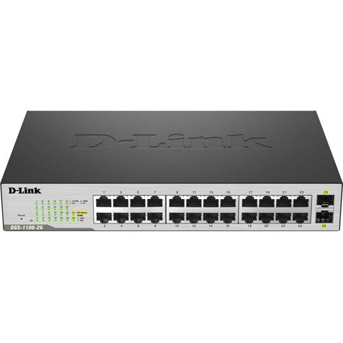 Commutateur Ethernet D-Link DGS-1100-26MP 24 Ports Gérable - 24 Réseau, 2 slot d'extension - Paire torsadée, Fibre Optique - 2 Couche supportée - Bureau