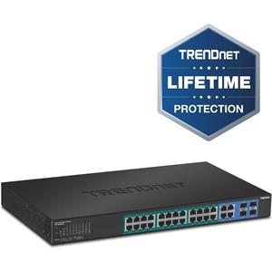Commutateur Ethernet TRENDnet TPE-5028WS 28 Ports Gérable - 2 Couche supportée - Modulaire - Paire torsadée, Fibre Optique - 1U Haut - Montable en rack