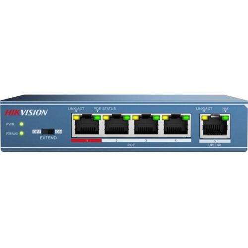 Commutateur Ethernet Hikvision DS-3E0105P-E 5 Ports - 4 Réseau, 1 Uplink - Paire torsadée - 2 Couche supportée