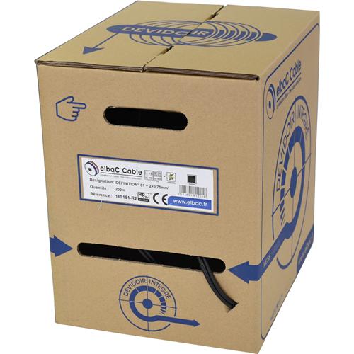 Câble vidéo/alimentation elbaC - Coaxial - pour Appareil vidéo, Système de Vidéo Surveillance - 200 m - Fil Dénudé - Fil Dénudé - Noir