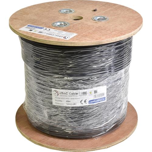 Câble vidéo/alimentation elbaC - Coaxial - pour Système de Vidéo Surveillance, Appareil vidéo - 250 m - Fil Dénudé - Fil Dénudé - Noir