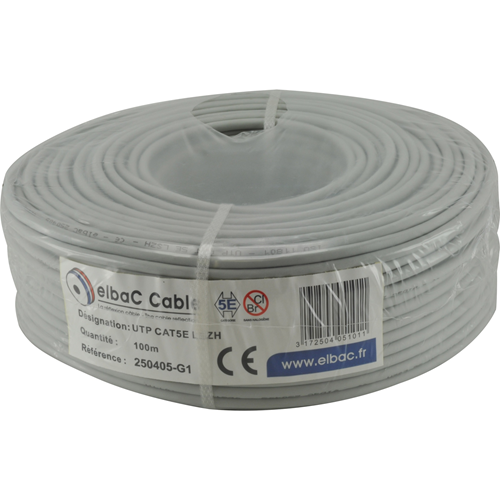 Câble réseau elbaC - Catégorie 5e - pour Périphérique réseau, Caméra de surveillance - 100 m - Fil Dénudé - Fil Dénudé - 12,50 Mo/s - Gris