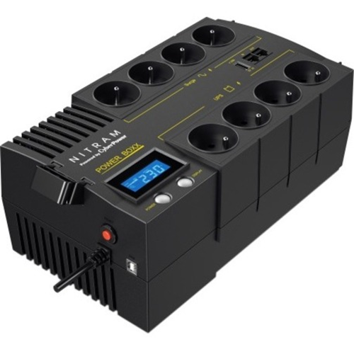 Onduleur ligne interactive NITRAM Power Boxx PB1200LCD - 1,20 kVA/720 W - AVR - 8 Heure(s) Recharge - 2 Minute(s) Stand-by - 230 V AC Entrée - 230 V AC, 5 V DC Sortie