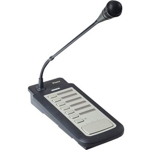 Pupitre d'appel pour six zones avec microphone unidirectionnel et carillons d'alerte. - De table