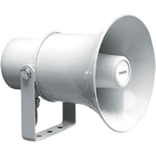 Haut-parleur à pavillon 10 W, circulaire, ABS, protection contre l'eau et la poussière IP65, câble de connexion 4 fils fixe de 2 m, gris clair RAL 7035.