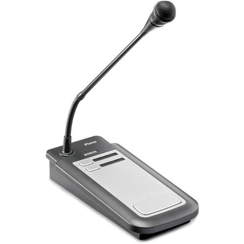 Pupitre d'appel 2 zones, embase métallique, microphone à condensateur unidirectionnel sur col de cygne flexible et sélection de 2 zones. - 5 m - 100 Hz à 16 kHz - 200 Ohm - 85 dB - Uni Directionnel - Bureau - Exclusif
