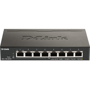 Commutateur Ethernet D-Link DGS-1100-08PV2 8 Ports Gérable - 2 Couche supportée - 64 W Budget PoE - Paire torsadée - PoE Ports - Bureau