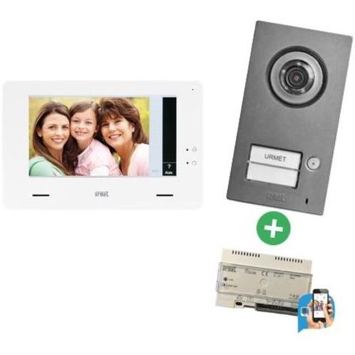 """Portier Vidéo Urmet 17,8 cm (7"""") - Écran tactile LCD - Capteur CCD - 60° Horizontale - 46° Verticale - 2 câble - ABS - Contrôle d'accès, Entrée de porte, Surveillance"""