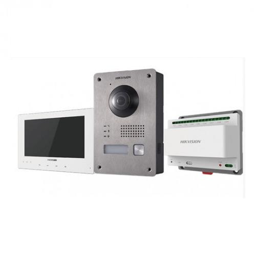 Kit Intercom vidéo écran blanc alim Din