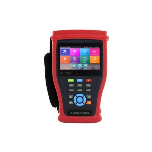 Dispositif d'Essai Metricu M-IPC-400C - Testeur de caméra, Contrôle PTZ (panoramique/inclinaison/zoom), Test de câbles, Test de réseau, Essai PoE, Test de caméra analogique, Test de caméra IP, Testeur IP, Test de câble coaxial - HDMI - USB - Réseau (RJ-45) - Port série - Sortie ligne audio - Paire torsadée - Réseau sans-fil - Fast Ethernet - 10/100Base-X - 1 Number of Batteries Supported - 7.4V - Batterie rechargeable - Lithium-ion pol